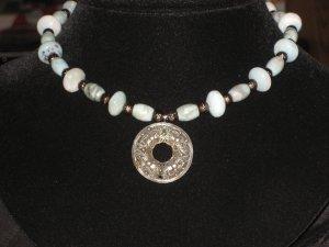 #34--Amazonite, SS Antique Spirals