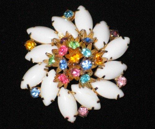 Milk Glass Marquis and Multi Colored Stone Swirl Brooch  BRO2011