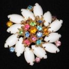 Milk Glass Marquis and Multi Colored Stone Swirl Brooch  BRO2011