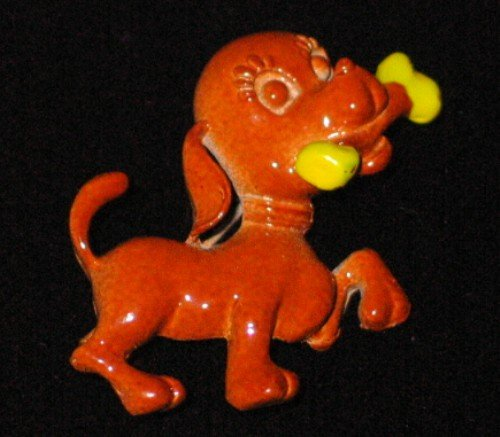 Charming Brown Puppy Figural Brooch BRO2044