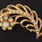 Gold Tone Feather and Flower Brooch with Aurora Borealis Accents BRO2055