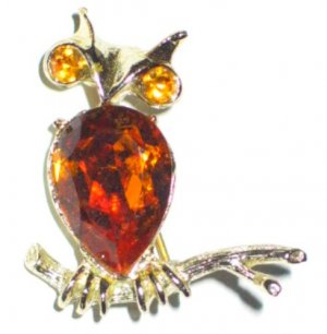 Dodds Figural Owl with Amber Rhinestone Accents BRO2061