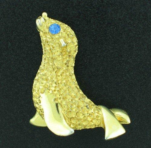 Seal Figural Pin with Blue Rhinestone Eye BRO2161