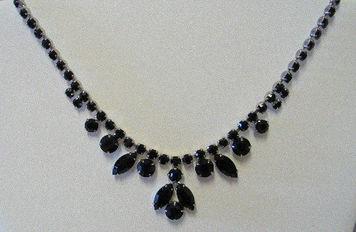 Lustrous Black Rhinestone Vintage Necklace NEC2020