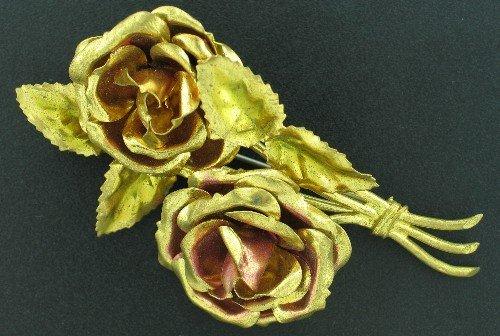 Vintage 1940s Large Goldtone Rose Brooch Bro2093