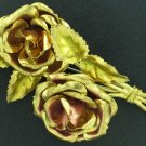Vintage 1940s Large Goldtone Rose Brooch Bro2093