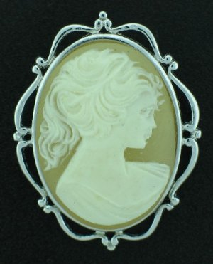 Cameo Revival Brooch with Silver Tone Frame BRO2040