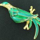 Large Green and Blue Bird Brooch Unsigned BRO2036
