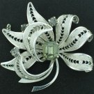 Vintage Filigree Silver Tone and Rhinestone Brooch BRO2063