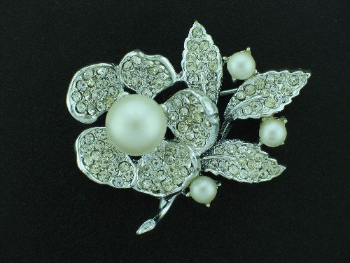 Goldette Faux Pearl and Rhinestone Brooch BRO2095