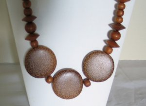 Large Wood Beaded Necklace with Leopard Style Spots