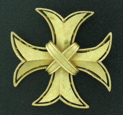 Trifari Maltese Cross Brooch or Pendant in Gold Tone
