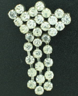 Vintage Brilliant Clear Round Rhinesone Dangle Pin