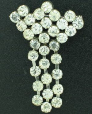 Vintage Brilliant Clear Round Rhinesone Dangle Pin