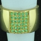 Napier Wide Apple Green Rhinestone Ring Rin2003