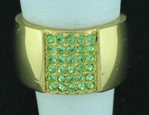 Napier Wide Apple Green Rhinestone Ring Rin2003