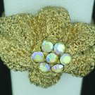 Textured Gold Tone Aurora Borealis Rhinestone Ring Rin2008