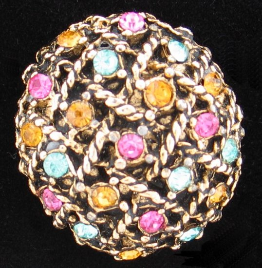 Vintage Gold Tone Basket Weave with Rhinestone Pin Bro2122