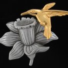 JJ Signed Hummingbird and Daffodil Trembler Brooch Bro2069