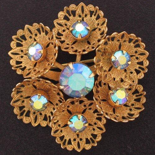 Lovely Vintage Blue Aurora Borealis Rhinestone Brooch Bro2099
