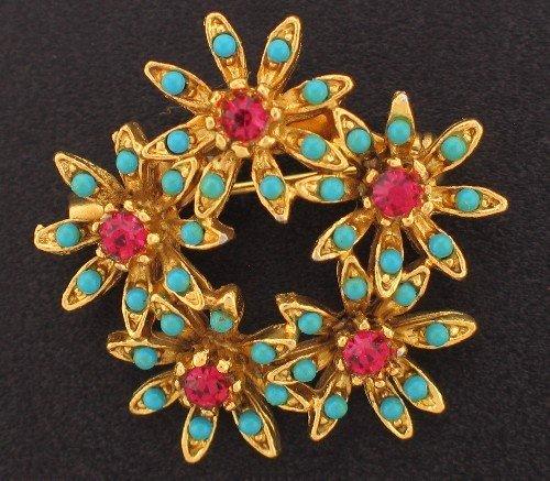 Faux Turquoise and Dark Pink Rhinestone Vintage Brooch Bro2057