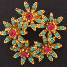 Faux Turquoise and Dark Pink Rhinestone Vintage Brooch Bro2057