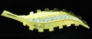 Vintage Gold Tone Leaf with Row of Clear Rhinestones Bro2034