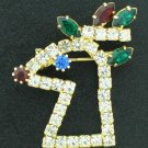 Glittery Rhinestone  Rudolph the Red Nosed Reindeer Brooch Bro2092