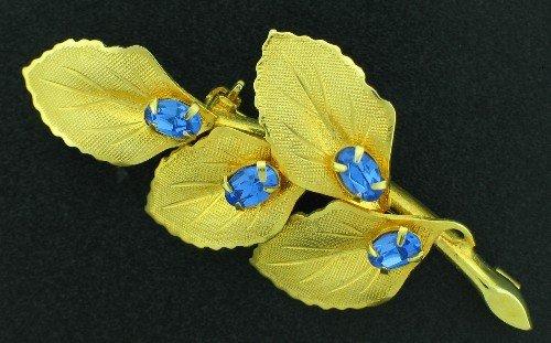 Classy Gold Tone Leaf and Blue Rhinestone Brooch Bro2166
