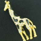 Rhinestone and Gold Tone Giraffe Pin Bro2052
