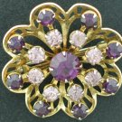 Two Tone Purple Rhinestone Ruffle Brooch Bro2103
