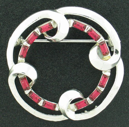 Silver Tone and Red Baguette Vintage Brooch Bro2080