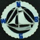 Coro Nautical Style Ship Inside the Compass in Enameled Blue and White Bro2147