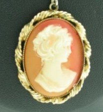 Cameo Set in Twisted Gold Tone Frame on Necklace Nec2088