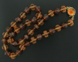 West German Two Tone Amber Beaded Necklace Nec2034