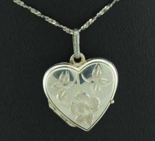 Italy 925 Diamond Cut Chain and Heart Locket Pendant Nec1025bc
