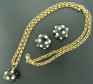 Black Enamel and Rhinestone Polka Dot Necklace and Earring Parure Set2103