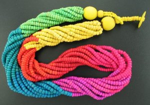 Rainbow of Color Wooden Bead Torsade Necklace Nec2042
