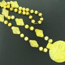 Aztec Design Yellow Glass Beaded Necklace Nec2041