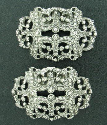 Vintage Musi Silver Tone Shoe Clips with Ornate Design Mis2003