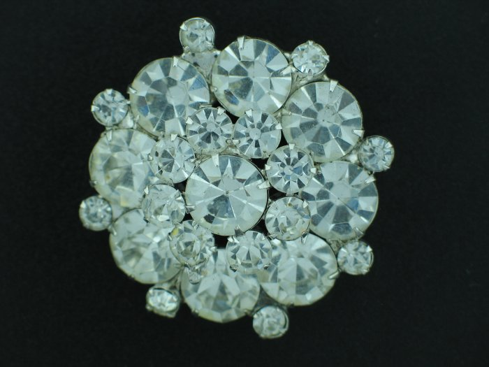 Layered Round Clear Rhinestone Brooch Bro2094