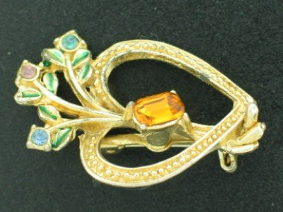 Heart and Flower Brooch with Emerald Cut Topaz Rhinestone Bro2177