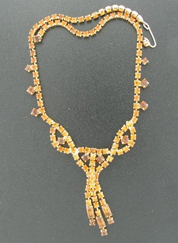 Two Tone Amber Round and Baguette Rhinestone Necklace Nec2095