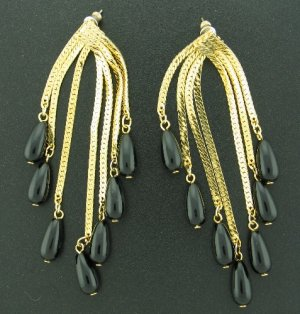 Gorgeous Black Drop Beads and Gold Tone Dangle Post  Earrings Ear2044