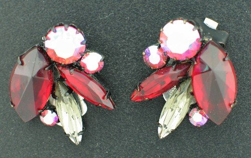Vintage Red and Clear Marquis and Round Aurora Borealis Rhinestone Earrings Ear2077
