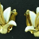 White Exotic Flower Machine Age Style Earrings Ear2022