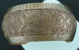 Malta Sterling Copper Coated Wide Stamped Cuff Bracelet Bra1009bc