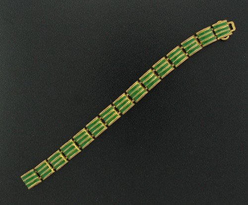 Vintage Gold Tone and Dark Green Link Design Bracelet Bra2016