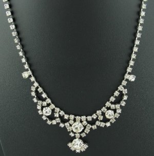 Vintage Clear Prong Set Rhinestone Necklace Nec2080