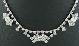 Vintage Unsigned Clear Prong Set Rhinestone Choker Nec2064